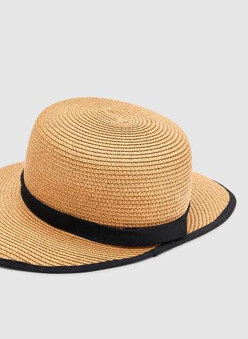 Chapeau visière en paille, Blanc cassé, hi-res