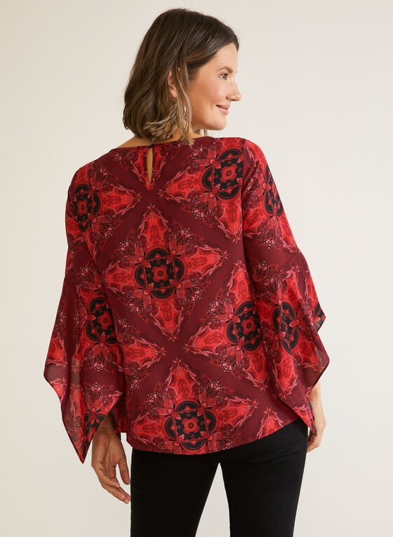 Printed Draped Sleeve Blouse, Red
