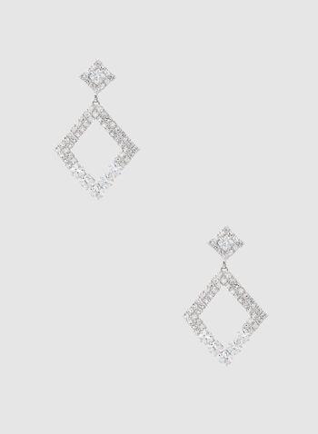 Crystal Pavé Earrings, Silver,
