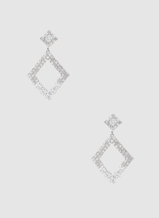 Boucles d'oreilles à losanges et cristaux, Argent