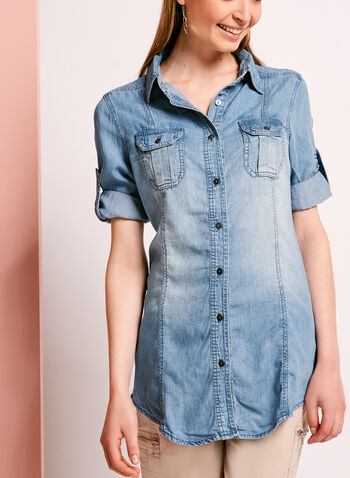 Button Down Denim Tencel Shirt, Blue, hi-res