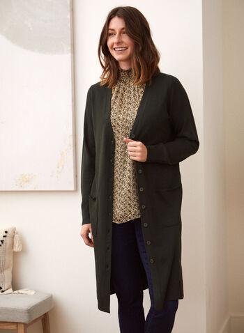 Long Tunic Cardigan, Green,  fall winter 2021, long, cardigan, button up, button down, knit, stick, pockets, lightweight