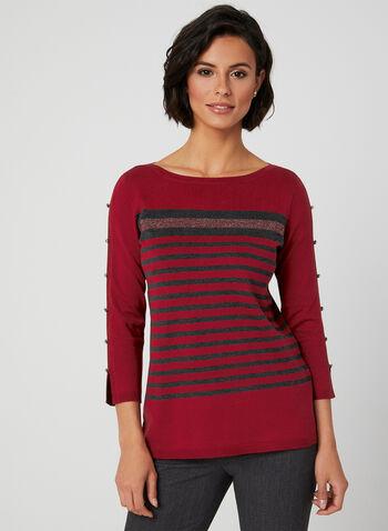 Stripe Print Sweater, Multi,  fall winter 2019, knit, 3/4 sleeves, stripe print