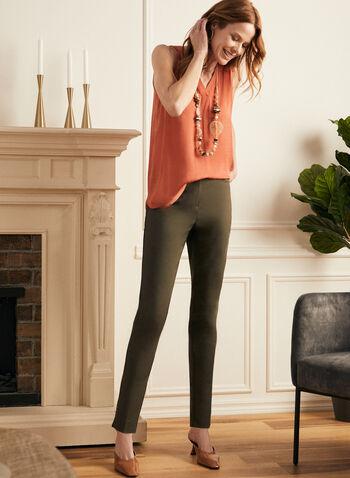 Pantalon coupe cité à jambe droite, Vert,  pantalon, cité, jambe droite, longueur cheville, coton, printemps été 2021
