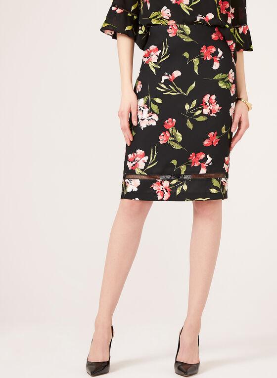 Floral Print A-Line Skirt, Black, hi-res