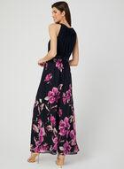 Floral Print Chiffon Dress, Blue, hi-res