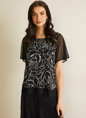 Abstract Floral Print Blouse, Black,  top, elbow sleeves, floral, jersey, chiffon, abstract, ruffled, scoop neck, spring summer 2020
