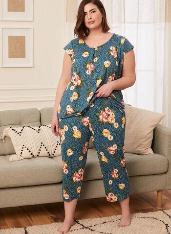 Floral Print Pyjama Set, Blue,  pyjamas, set, ensemble, 2-piece, scoop neck, short sleeves, floral print, capris, pull-on, spring summer 2021