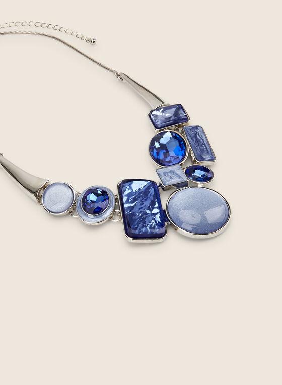 Mixed Geometric Stone Necklace , Blue