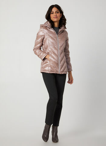 Packable Down Coat, Pink, hi-res,  coat, packable, down, quilted, detachable hood, fall 2019, winter 2019