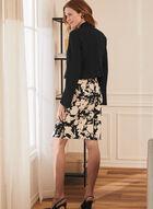 Jacket & Floral Print Dress, Black