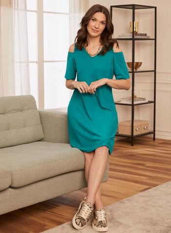 Cold Shoulder Trapeze Dress, Green,  spring summer 2021, dresses, v neck, short sleeves, open shoulders,