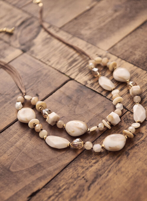 Double Row Bead Necklace, Off White
