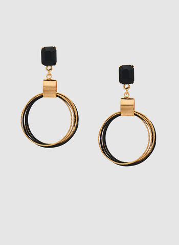 Hoop Dangle Earrings, Black, hi-res