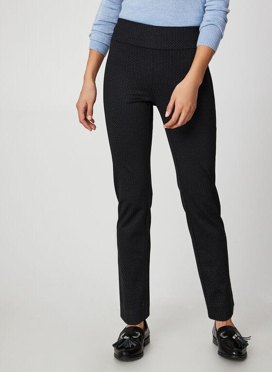 City Fit Geometric Print Slim Leg Pants, Black