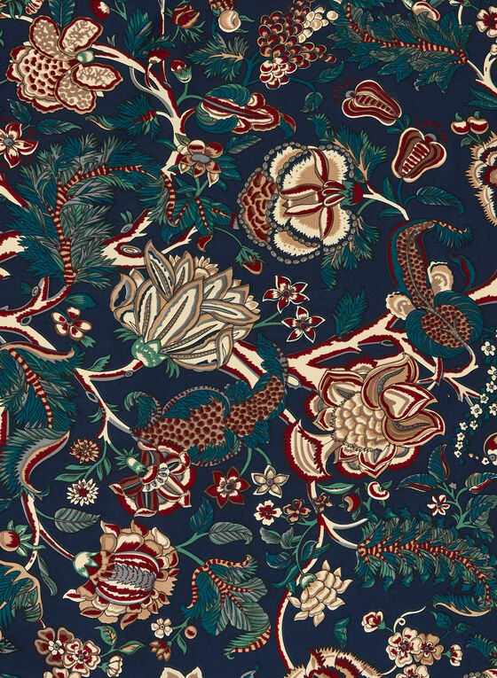 Floral Print Square Scarf, Blue