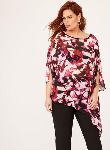 Sheer Floral Print Poncho Blouse, Multi, hi-res