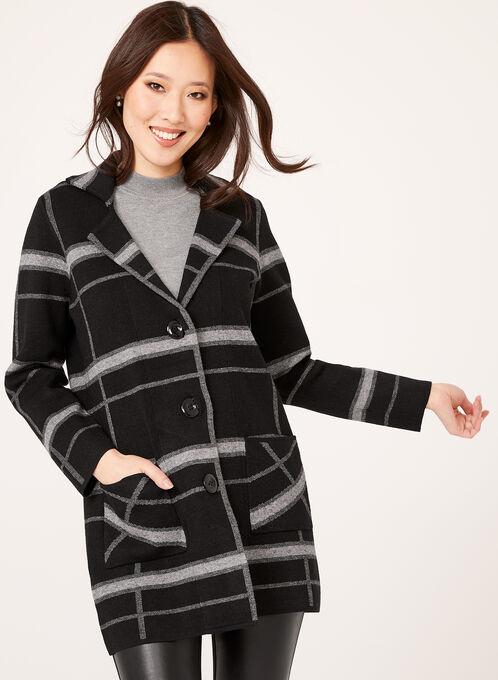 Plaid Knit Button Front Cardigan, Black, hi-res