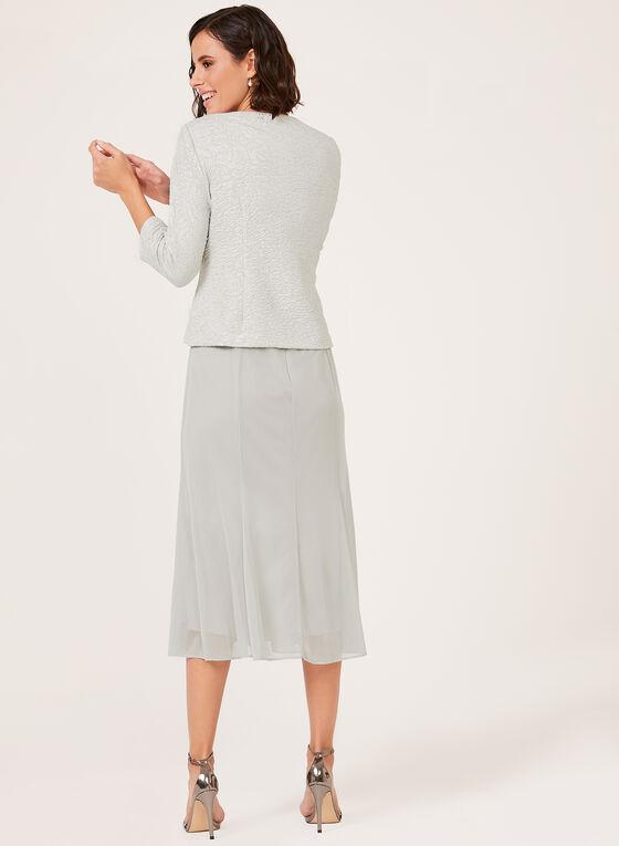 Ensemble robe bi-matière et veste à brillants, Argent, hi-res