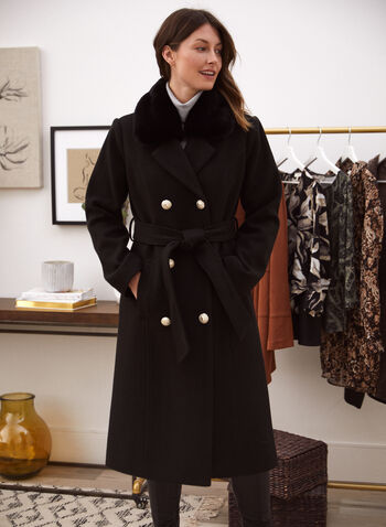 Manteau militaire en laine mélangée, Noir,  manteau, vêtement d'extérieur, exclusivité laura, col tailleur, bordure en fausse fourrure détachable, manches longues, double boutonnage, poches fendues, cintré, ganses pour ceinture, ceinture à la taille, laine mélangée extensible, doublure en satin épais, chaud, chic, élégant, automne hiver 2021