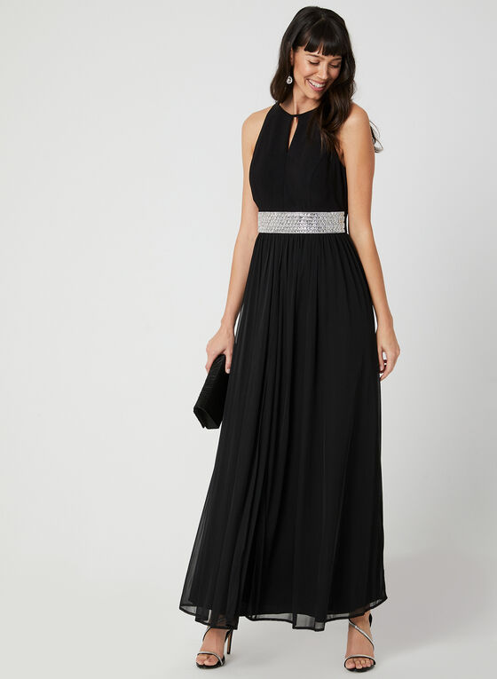 Crystal Sash Chiffon Overlay Gown, Black, hi-res