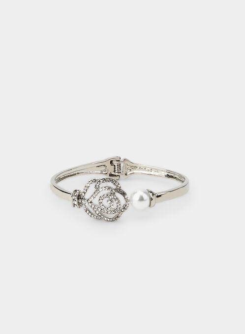 Flower Crystal & Pearl Bracelet, Silver