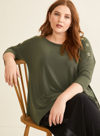Joseph Ribkoff - Button Detail Tunic, Green,  top, tunic, button details, dolman, elbow sleeves, jersey, spring summer 2020