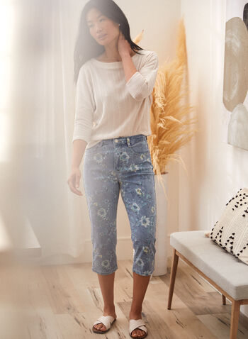 Floral Print Denim Capris, Blue,  spring summer 2021, made in Canada, high rise, high waisted, straight leg, 5 pocket, zip and button closure, belt loops, stretch denim, capris, capri pants, capri jeans, cropped jeans, floral print