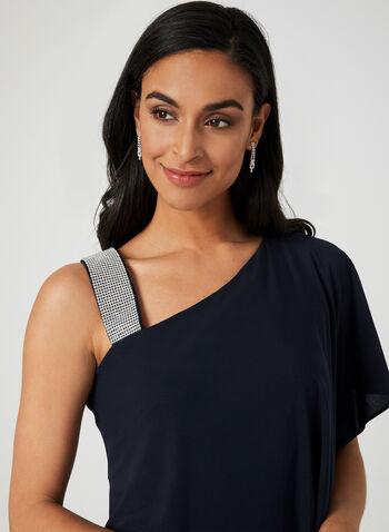 Robe drapée à épaule dénudée, Bleu, hi-res,  robe cocktail, bretelle, cristaux, asymétrique, jersey, drapé, printemps été 2019