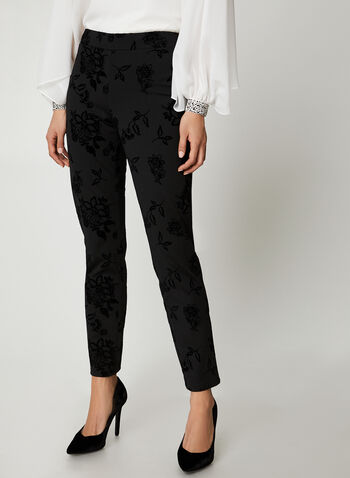 City Fit Floral Pants, Black,  Canada, pants, City Fit, slim leg, Ponte de Roma, flocked, floral, fall 2019, winter 2019