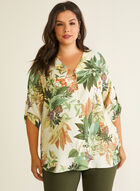 Tropical Print Button Front Blouse, White