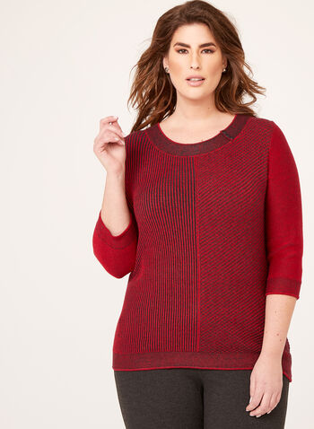 ¾ Sleeve Scoop Neck Sweater, Red, hi-res