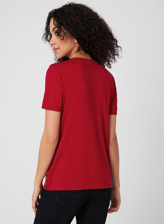 Button Detail T-Shirt, Red