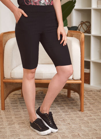 Slim Leg Pull On Shorts, Black,  spring summer 2021, made in Canada, pull-on, shorts, bottoms, slim leg, mid rise, elastic waist, pockets, pleated, city fit, bengaline