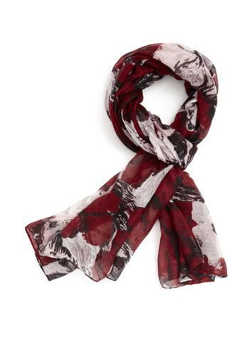 Foulard léger à imprimé floral, Rouge, hi-res