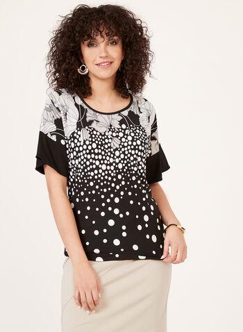 Polka Dot Print Blouse , Black, hi-res