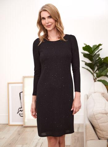 Long Sleeve Sheath Dress, Black,  fall winter 2020, dress, dresses, sheath, long sleeve, crepe knit, shimmer, made in Canada.