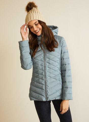 Bernardo - Manteau en duvet EcoPlume™, Vert,  automne hiver 2020, manteau, matelassé, duvet, Bernardo, col montant, capuchon, zip, poches