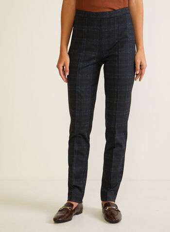Tartan Print Pull-On Pants, Blue,  fall winter 2020, tartan, pants, slim leg, pull-on, elastic, pleats