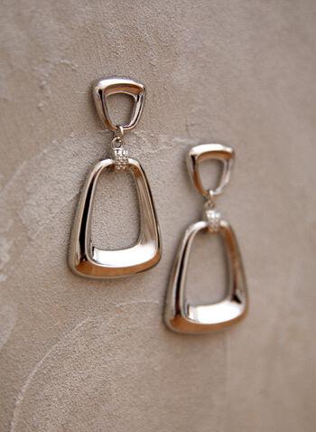 Boucles d'oreilles à formes géométriques, Argent,  accessoire, bijou, boucles d'oreilles, sur tige, deux étages, argent, formes géométriques, métal, printemps été 2021