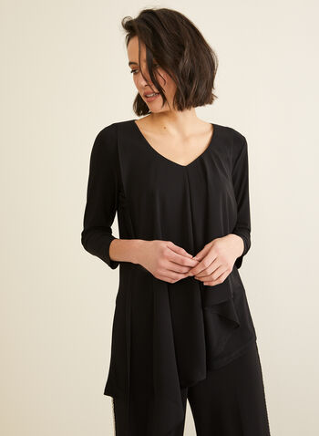 3/4 Sleeve Asymmetrical Top, Black,  top, tunic, chiffon, 3/4 sleeves, asymmetric,v-neck, fall winter 2019