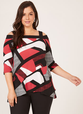 Geometric Print Jersey Tunic, Black, hi-res