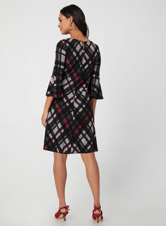 Plaid Bell Sleeve Dress, Black