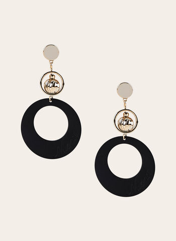 Three Tiered Dangle Earrings, Black, hi-res