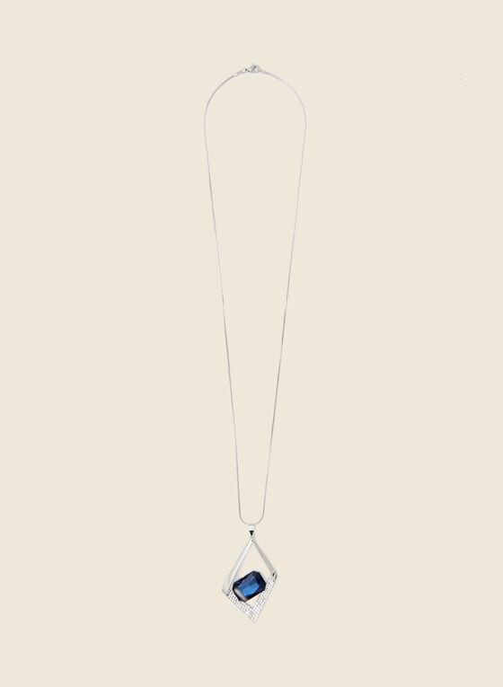 Geometric Pendant Necklace, Blue
