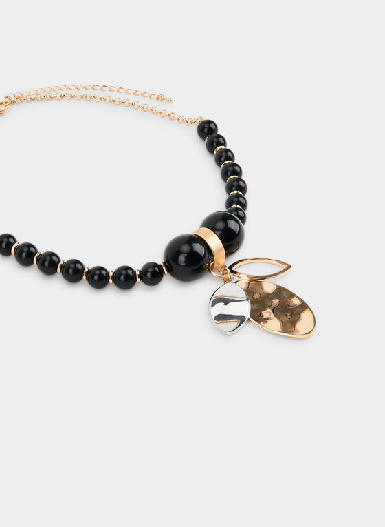 Graduated Ball Pendant Necklace, Black