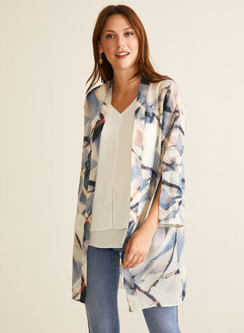Abstract Print Open Front Tunic, White,  tunic, open front, abstract, crepe, long sleeves, spring summer 2020