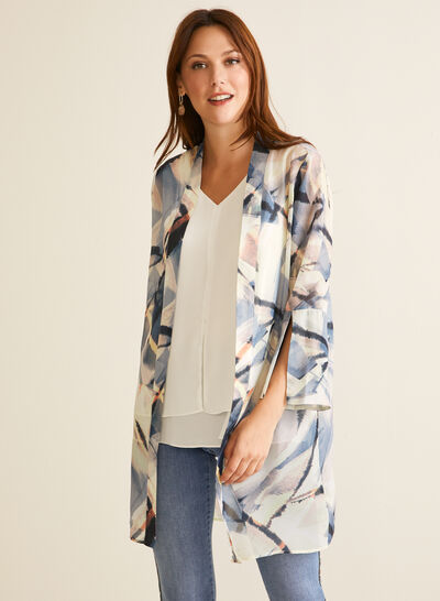 Abstract Print Open Front Tunic