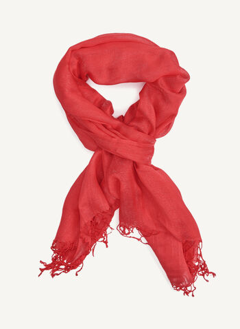 Lustrous Fringed Solid Colour Scarf, Orange, hi-res