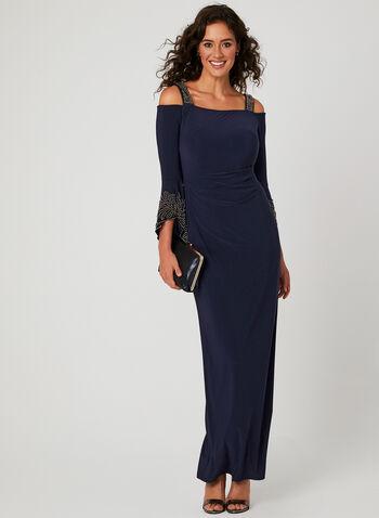 Cold Shoulder Bell Sleeve Dress, Blue, hi-res